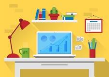 Ilustração lisa do vetor do projeto do interior moderno do escritório Espaço de trabalho criativo do escritório dos desenhos anim Fotos de Stock
