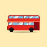 Ilustração lisa do vetor do projeto do ônibus do ônibus de dois andares Foto de Stock