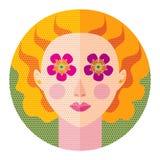 Ilustração lisa do vetor do projeto do pop art da mola da menina Fotos de Stock Royalty Free