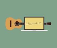 Ilustração lisa do vetor do projeto do portátil da melodia da guitarra acústica Imagens de Stock Royalty Free