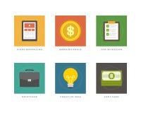 Ilustração lisa do vetor dos ícones do projeto do negócio Fotografia de Stock Royalty Free