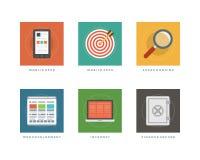 Ilustração lisa do vetor dos ícones do projeto do negócio Foto de Stock