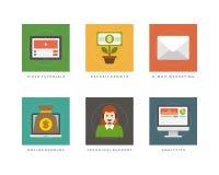 Ilustração lisa do vetor dos ícones do projeto do negócio Foto de Stock Royalty Free