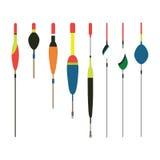 Ilustração lisa do vetor dos ícones dos bobbers da pesca Pescando ferramentas, pescando os prumos, pescando ícones Ferramentas da Imagem de Stock