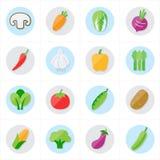 Ilustração lisa do vetor dos ícones dos vegetais dos ícones Imagem de Stock Royalty Free