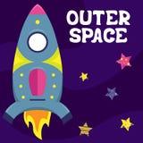 Ilustração lisa do vetor dos desenhos animados com uma nave espacial O espaço ilustração royalty free