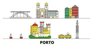 Ilustração lisa do vetor dos marcos de Portugal, Porto Linha cidade com vistas famosas do curso, skyline de Portugal, Porto, proj ilustração royalty free