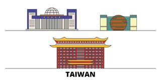 Ilustração lisa do vetor dos marcos Taipei da cidade nova de Taiwan, Perímetro urbano novo cidade de Taiwan, Taipei com vistas fa ilustração royalty free