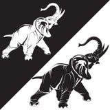 Ilustração lisa do vetor do elefante asiático Fotos de Stock