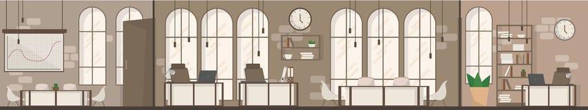 Ilustração lisa do vetor do espaço moderno interior vazio do local de trabalho do espaço de escritórios Fotos de Stock