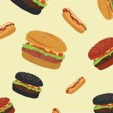 Ilustração lisa do vetor do Hamburger e do Hotdog com fundo ilustração royalty free