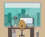 A ilustração lisa do vetor do projeto de um marrom do espaço de trabalho do escritório protege a negligência da cidade Fotos de Stock Royalty Free