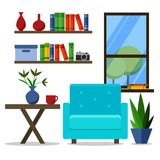 Ilustração lisa do vetor do projeto do escritório domiciliário moderno Creativeinterior com poltrona ilustração stock