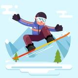 Ilustração lisa do vetor do projeto do passeio do esporte de inverno do caráter do moderno do totó do patim do Snowboard Ilustração Royalty Free