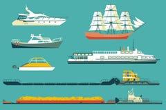 Ilustração lisa dos ícones dos navios e dos barcos ilustração do vetor