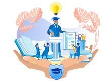 Ilustração lisa dos desenhos animados do seguro da família ilustração do vetor