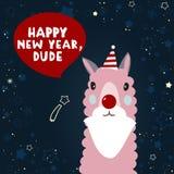 Ilustração lisa isolada do ano novo com Lama Ano novo feliz, gajo ilustração royalty free
