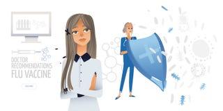 Ilustração lisa isolada vetor - as jovens mulheres mãe e doutor com um protetor pensam sobre a vacina para sua criança ilustração stock