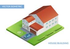 Ilustração lisa isométrica com casa e jarda com carro Fotos de Stock