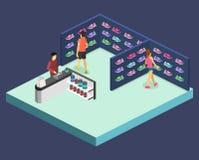 A ilustração lisa isométrica do cflat 3D ostenta a loja de sapatas Imagens de Stock