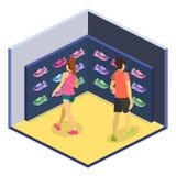 A ilustração lisa isométrica do cflat 3D ostenta a loja de sapatas Fotografia de Stock