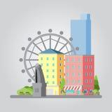 Ilustração lisa moderna da arquitetura da cidade do projeto Fotos de Stock Royalty Free