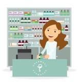 Ilustração lisa moderna do vetor de um farmacêutico fêmea que mostra a descrição da medicina no contador em uma farmácia Fotos de Stock Royalty Free
