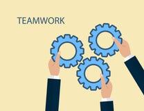 Ilustração lisa moderna dos trabalhos de equipa para alcançar o objetivo Foto de Stock Royalty Free