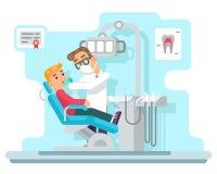 Ilustração lisa paciente do vetor do projeto dos serviços médicos do armário do hospital do doutor do dentista ilustração stock