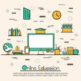 Ilustração lisa para a educação em linha Imagens de Stock Royalty Free