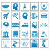 Ilustração lisa retro ajustada do vetor do conceito de projeto da lei do esporte da viagem de negócios dos ícones Fotos de Stock
