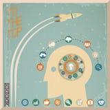 Ilustração lisa retro do vetor do fundo do espaço dos ícones da roda de engrenagem da geração de Head Thought Idea do homem de neg Imagem de Stock