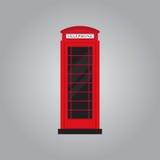 Ilustração lisa retro vermelha do vetor do projeto da cabine de telefone Fotografia de Stock Royalty Free