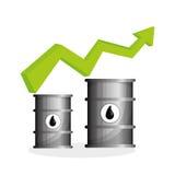 Ilustração lisa sobre conceitos do preço do petróleo, do petróleo e do gás Fotos de Stock