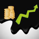 Ilustração lisa sobre conceitos do preço do petróleo, do petróleo e do gás Fotos de Stock Royalty Free