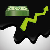 Ilustração lisa sobre conceitos do preço do petróleo, do petróleo e do gás Foto de Stock