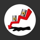 Ilustração lisa sobre conceitos do preço do petróleo, do petróleo e do gás Imagens de Stock Royalty Free