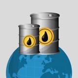 Ilustração lisa sobre conceitos do preço do petróleo, do petróleo e do gás Fotografia de Stock