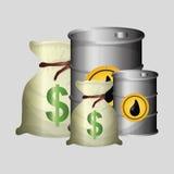 Ilustração lisa sobre conceitos do preço do petróleo, do petróleo e do gás Imagem de Stock