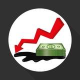 Ilustração lisa sobre conceitos do preço do petróleo, do petróleo e do gás Foto de Stock Royalty Free