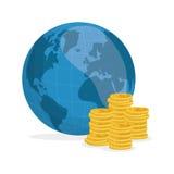 Ilustração lisa sobre o preço do petróleo, o mundo e o dinheiro Imagens de Stock Royalty Free