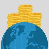 Ilustração lisa sobre o preço do petróleo, o mundo e o dinheiro Foto de Stock Royalty Free