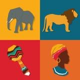 Ilustração lisa sobre o projeto de África Imagens de Stock