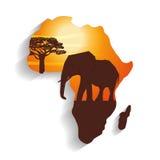 Ilustração lisa sobre o projeto de África Fotos de Stock Royalty Free