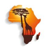 Ilustração lisa sobre o projeto de África Imagem de Stock
