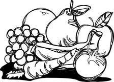 Ilustração livre do curso da pilha saudável dos frutos ilustração do vetor