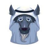Ilustração: Lobo judicioso árabe do negócio de Dubai no fundo branco ilustração stock