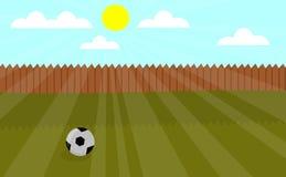 Ilustração local do vetor do campo de jogos com futebol ilustração royalty free