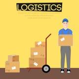 Ilustração logística da caixa do vetor do homem Imagens de Stock Royalty Free