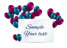 Ilustração lustrosa do vetor do cartão dos balões da cor Imagens de Stock